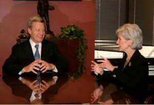 US Sen. Max Baucus, a Montana Democrat, talks with Kathleen Sebelius, nominee for US Secretary of Health and Human Services.