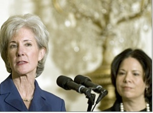 Kathleen Sebelius, new secretary of Health and Human Services, and Nancy-Ann DeParle, new head of the White House Office For Health Reform
